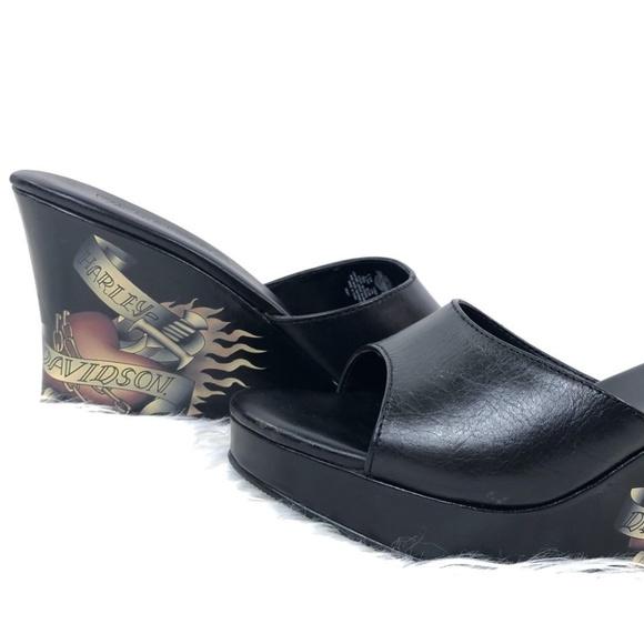 ac62b921aee65 Harley Davidson Shoes - Harley Davidson Black Leather Wedge Sandals 5.5M